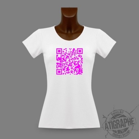 Women's slim T-Shirt - Personnalized QR-Code, Magenta