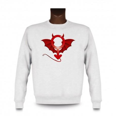 Men's funny fashion Sweatshirt - Devil Man, White