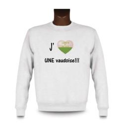 Uomo Sweatshirt - J'aime UNE Vaudoise, White