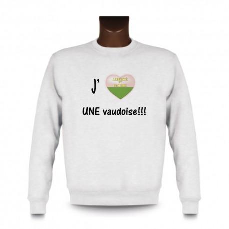 Herren Mode Sweatshirt - J'aime UNE Vaudoise, White