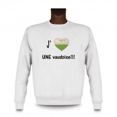 Sweat mode homme - J'aime UNE Vaudoise, White