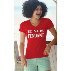 Women's Fashion cotton T-Shirt - Je suis FENDANT, 40-Red