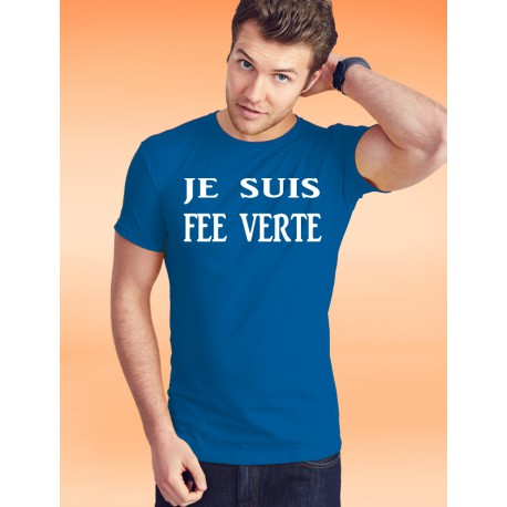Men's cotton T-Shirt - Je suis FEE VERTE, 51-Royal Blue
