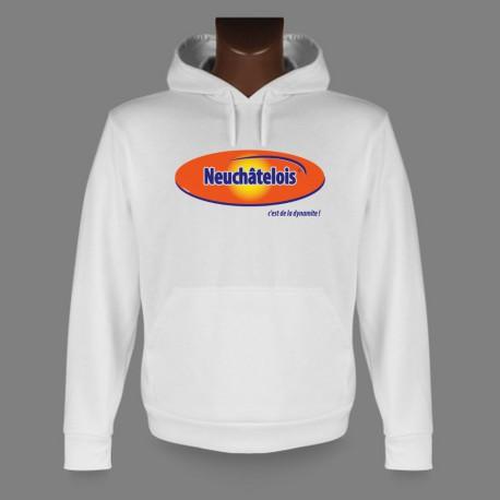 Sweatshirt humoristique blanc à capuche - Neuchâtelois, c'est de la dynamite !