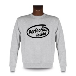 Herren Funny Sweatshirt - Perfection inside, Ash Heater