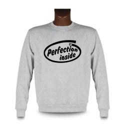 Herren Funny Sweatshirt - Perfection inside, Ash Heater
