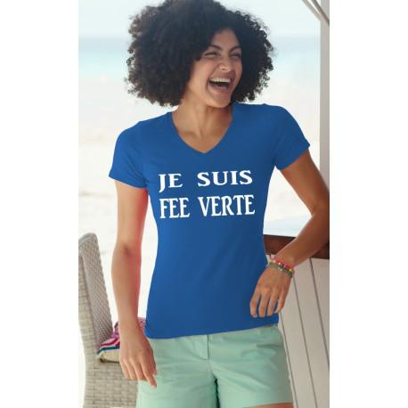 Women's cotton T-Shirt - Je suis FEE VERTE, 51-Royal Blue
