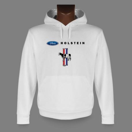 Sweatshirt humoristique blanc à capuche - Swiss Holstein