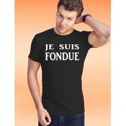 Baumwolle T-Shirt - Je suis FONDUE, 36-Schwarz