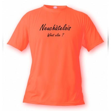 T-Shirt humoristique mode homme - Neuchâtelois, What else ?, Safety Orange
