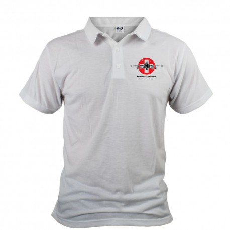 Polo shirt homme avion de combat - Swiss FA-18 Hornet, version couleur