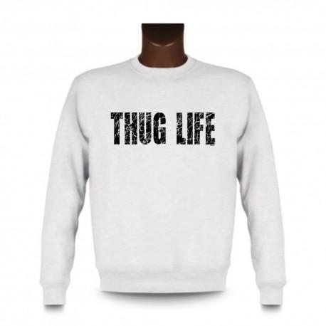 Herren Sweatshirt - THUG LIFE, White