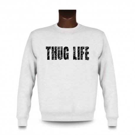Uomo fashion Sweatshirt - THUG LIFE, White