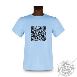 Women's or Men's T-Shirt - Customizable QR-Code, Blizzard Blue