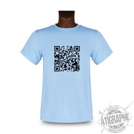 Women's or Men's T-Shirt - Customizable QR-Code, Blizzard Blue