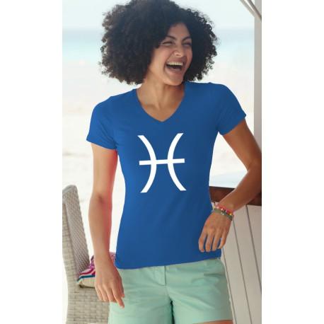 Donna moda cotone T-Shirt - segno zodiacale dei pesci, 51-Royal