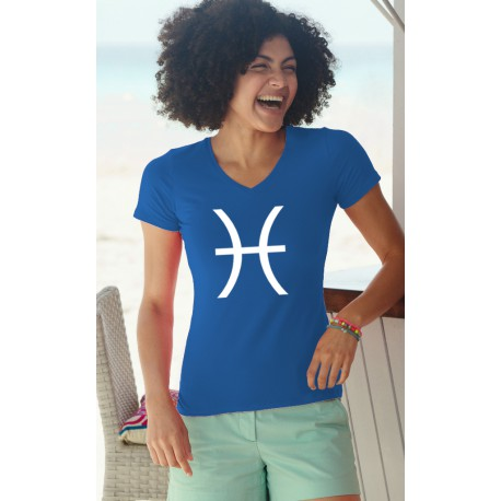 T-shirt mode coton Dame - signe astrologique Poisson, 51-Bleu Royal