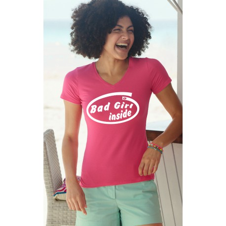 Frauen Baumwolle Mode T-Shirt - Bad Girl Inside, 57-Fuchsia