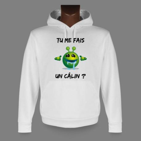 Sweatshirt blanc à capuche - Alien smiley - Tu me fais un câlin ?