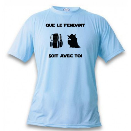 T-Shirt umoristica  - Que le Fendant soit avec Toi, Blizzard Blue