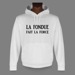 Sweat bianco a cappuccio - La Fondue fait la Force