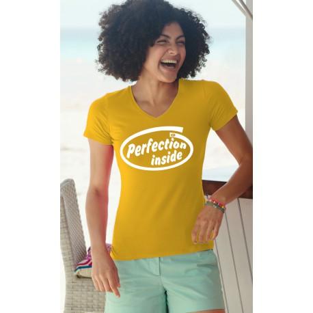 Donna Moda cotone T-Shirt - Perfection Inside, 34-Girasole