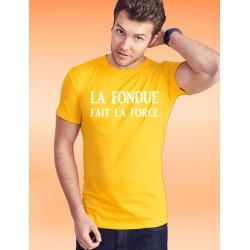 Herrenmode Baumwolle T-Shirt - La Fondue fait la Force, 34-Sonnenblumengelb