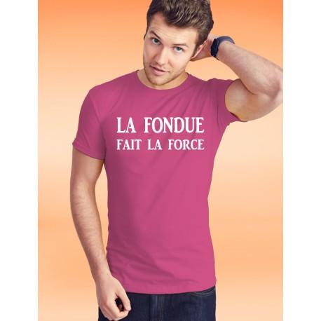 Herrenmode Baumwolle T-Shirt - La Fondue fait la Force, 57-Fuchsia