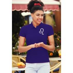 Frauenmode Polo T-Shirt - Sternbild Löwe, PE-Violett
