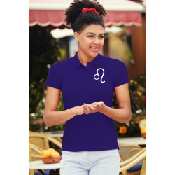 Women's fashion Polo - Lion astrological sign, PE-Purple
