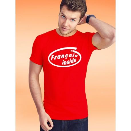 Men's Fashion cotton T-Shirt - Français inside, 40-Red