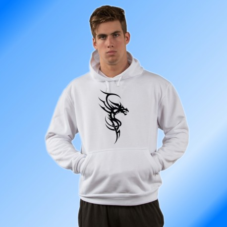 Sweatshirt blanc à capuche - Dragon Tribal