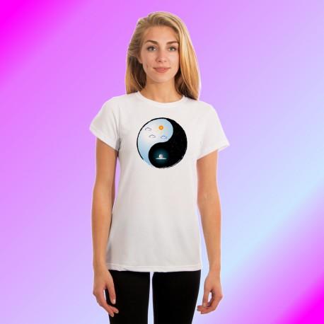 T-shirt mode dame - Yin-Yang - Le Soleil et la Lune