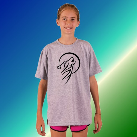 Youth T-shirt - Tribal Moon Wolf, Ash Heater