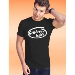 Herren Mode lustig Baumwolle T-Shirt - Gruérien inside, 36-Schwarz