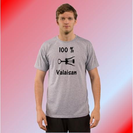 T-Shirt mode homme humoristique - 100 pourcent valaisan, Ash Heater