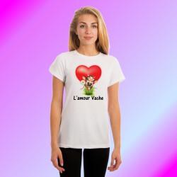 Frauenmode Lustig T-shirt slim - L'amour Vache