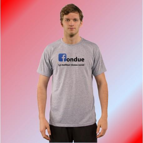 Humoristisch T-Shirt - fondue, le meilleur réseau social, Ash Heater