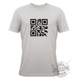 "T-Shirt QR-Code ""Célibataire"", November White"