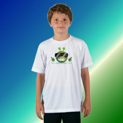 T-shirt mode enfant, Alien Smiley - Cool Alien, White