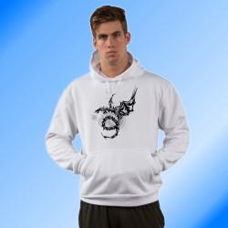 Tribale Felpa bianco a cappuccio - Drago Universo