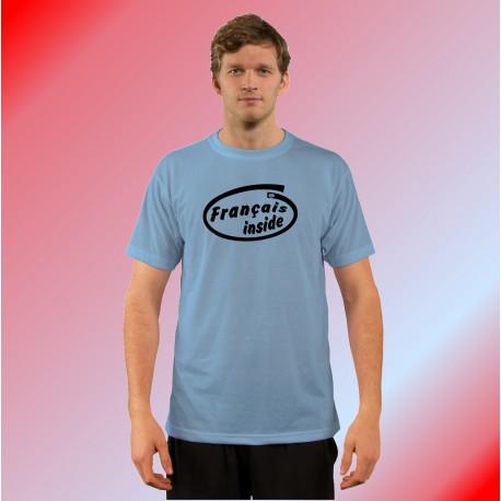Humoristisch Herrenmode T-Shirt - Français inside, Blizzard Blue