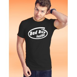Herren Mode Baumwolle T-Shirt - Bad Boy inside, 36-Schwarz