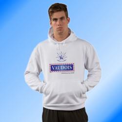 Sweatshirt humoristique blanc à capuche - Vaudois, l'homme qui vous réussit
