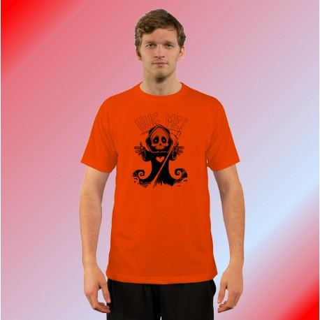 Men's Funny T-Shirt - Hug me, Safety Orange