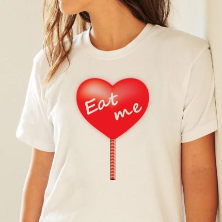Eat me ❤ Mange-moi ❤ T-Shirt mode dame avec un coeur en sucre d'orge