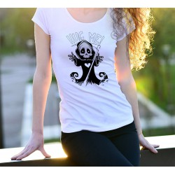 Women's fashion funny T-Shirt - Hug me - Grim Reaper