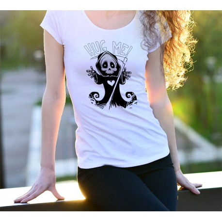 Frauenmode lustig T-shirt -  Hug me -  Sensenmann