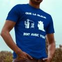 Men's cotton T-Shirt - Que la Bleue soit avec Toi