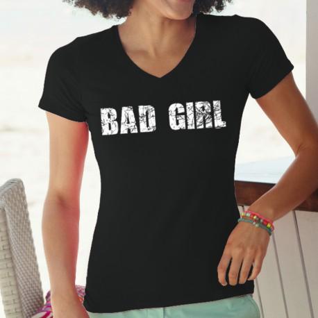 Frauen lustige Mode Baumwolle T-Shirt - Bad Girl, 36-Schwarz
